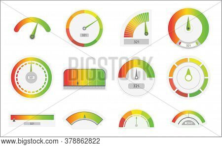 Business Credit Score Speedometers. Credit Score Indicators With Color Levels From Poor To Good. Lev