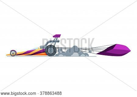 Sport Racing Car, Side View, Fast Motor Racing Bolid Vector Illustration On White Background