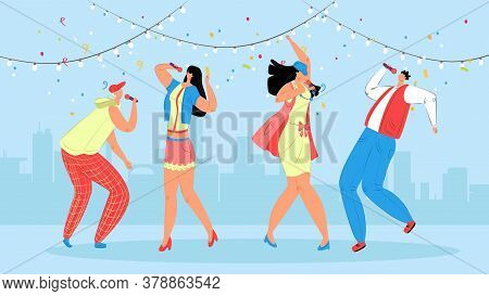 Karaoke People Vector Illustration. Festive Party For Young People. Group Teenagers Enjoy Dancing On