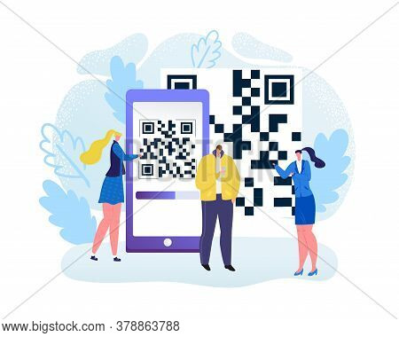 Digital Qr Code For Mobile Scan At Smartphone Technology, Vector Illustration. Flat Scanning Online,