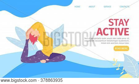 Yoga Lifestyle Sport, Vector Illustration. Woman Character Do Exercise, Flat Girl Person Activity Wi