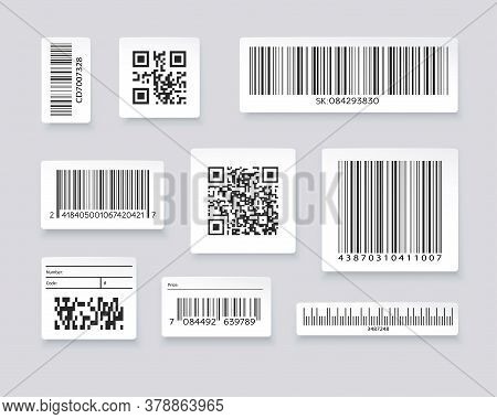Qr Codes And Barcode Labels. Supermarket Scan Code Bars, Industrial Barcode Labels. Barcode Label Fo