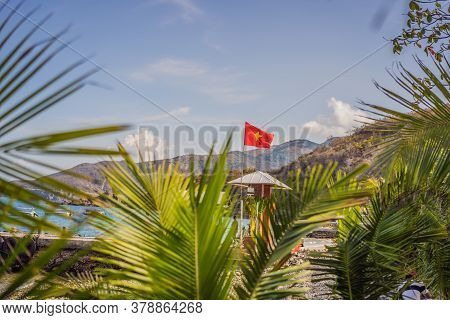 Vietnamese Tropical Resort, Vietnamese Flag Over The Beach