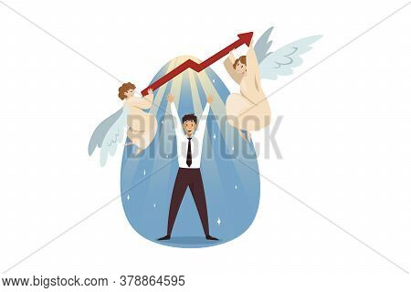 Teamwork, Startup, Religion, Christianity, Business Concept. Team Of Angels Biblical Characters Hold