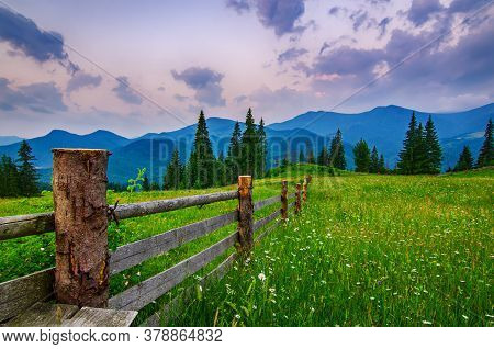 Carpathian Mountains Summer Landscape With Green Hills And Wooden Fence, Vintage Hipster Amazing Bac