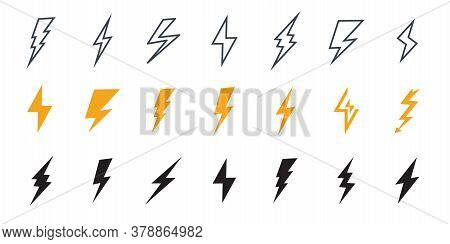 Lightning Icon. Simple Icon Storm Or Thunder And Lightning Strike. Set Of Icons Representing Lightni