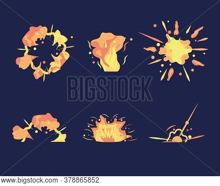 Cartoon Explosion. Exploding Bomb, Atomic Explode Effect And Comic Explosions. Animation For Game Of