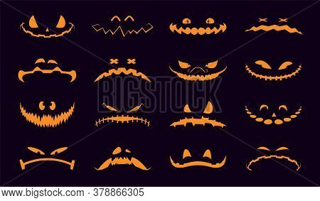Halloween Pumpkins Faces. Collection Of Halloween Pumpkins Carved Faces Silhouettes. Pumpkins Icons