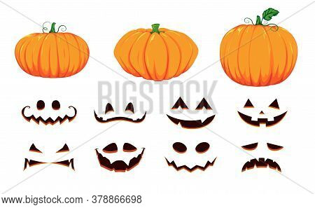 Halloween Collection Of Pumpkin Faces. Generator With Empty Pumpkins And Scary Faces. Vector Cartoon