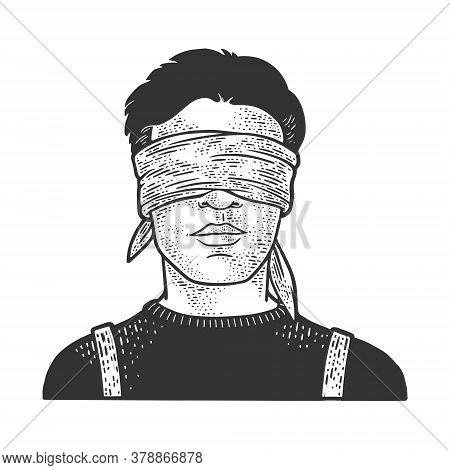 Blindfolded Man Sketch Engraving Vector Illustration. T-shirt Apparel Print Design. Scratch Board Im