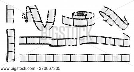 Cinema Strip Roll. Film Roll Vector, Film 35mm Blank Slide Frame, Photo Video Monochrome Picture, Ne