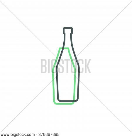 Simple Line Shape Of Martini Bottle. One Contour Figure Of A Bottle, The Second Drink. Outline Symbo