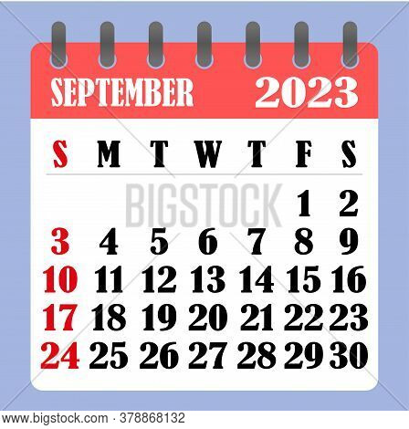 Letter Calendar For September 2023. The Week Begins On Sunday. Time, Planning And Schedule Concept.
