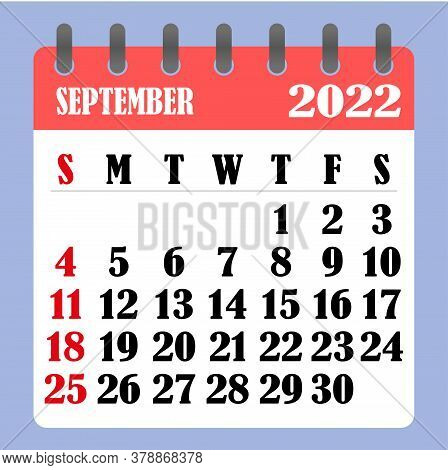Letter Calendar For September 2022. The Week Begins On Sunday. Time, Planning And Schedule Concept.