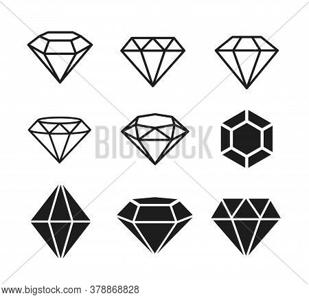 A Set Of Diamonds In A Flat Style. Abstract Black Diamond Collection Icons. Linear Outline Sign. Vec