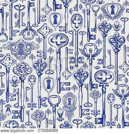Decorative Seamless Pattern With Vintage Hand-drawn Keys And Keyholes In Retro Style. Repeatable Vec