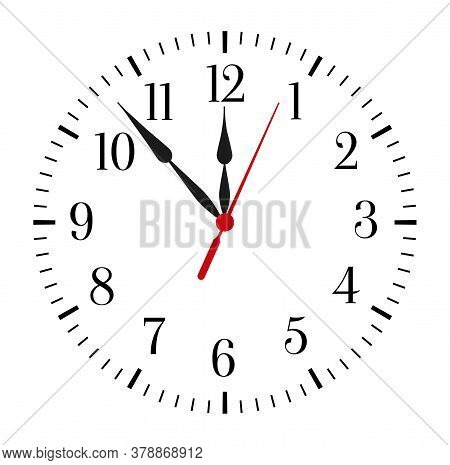 Clock Face On White Background. Classic Black And White Round Wall Clock. Vector Illustration