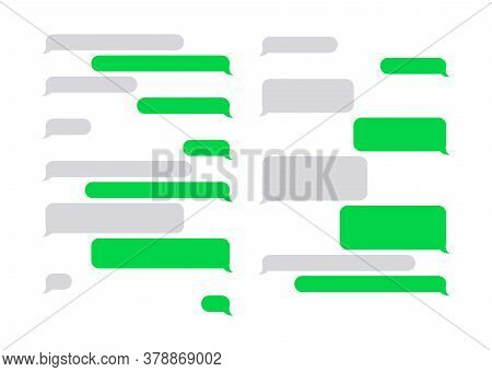 Message Bubbles Chat Vector. Chat Speech Bubbles In A Flat Design. Collection Of Chat Speech Bubbles