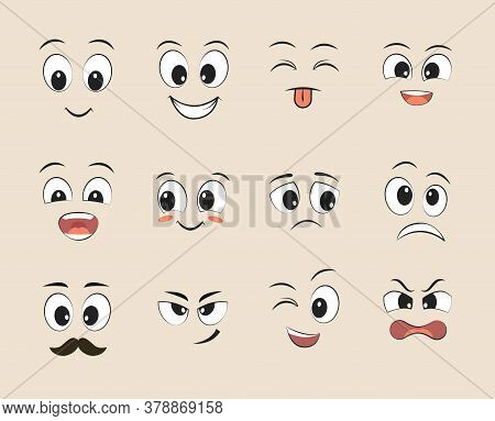 Set Of Funny Faces. Cartoon Faces With Different Expressions, Featuring The Eyes And Mouth, Design E