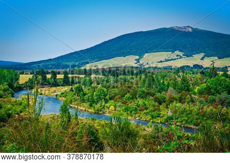 Spectacular Landscape Of Tongariro River Delta Down To Lake Taupo With Magnificent Mountains At The