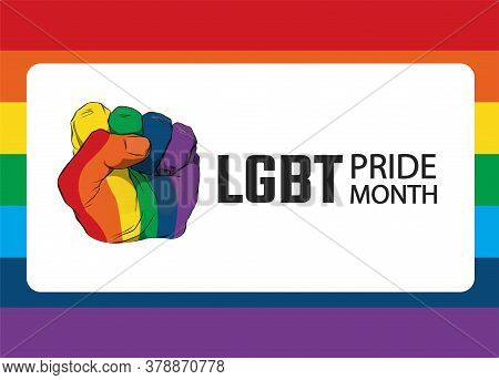 Raised Fist With Colors Of Lgbt Flag For Liberty And Tolerance On A Rainbow Colors Background. Stick