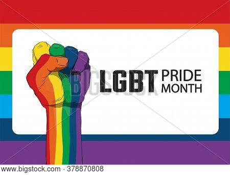 Raised Fist With Colors Of Lgbt Flag For Liberty And Tolerance. Sticker, Patch, T-shirt Print, Logo