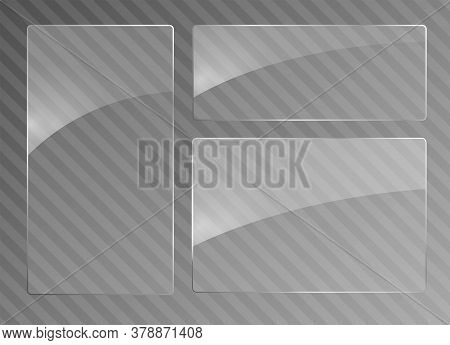 Glass Transparent Banners. Clear Glass Showcase. Realistic Window Mockup. Vector Glass Plates With A