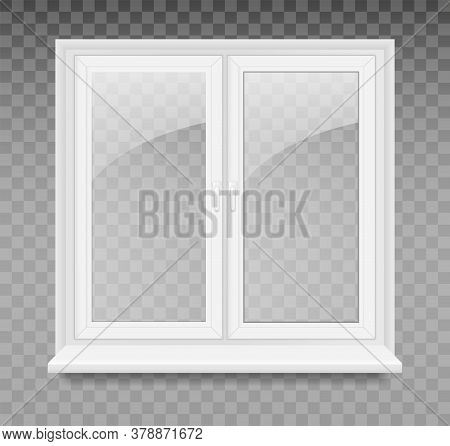 Vector Illustration With White Plastic Window Isolated On Transparent Background. Closed Realistic V
