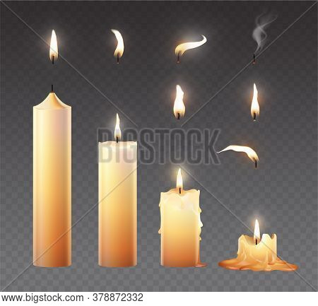Candle Fire Set. Realistic Burning Wax Candles For Animation. Vector Illustration Isolated On Transp