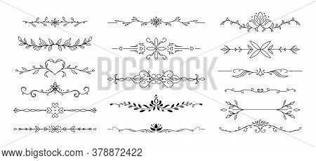 Flower Text Divider Line. Ornamental Divider And Leaves Ornaments. Vector Illustration.