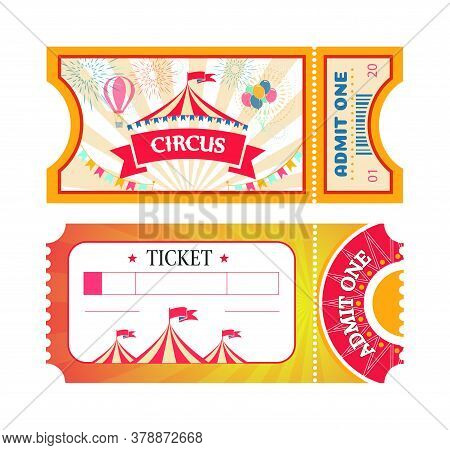 Tickets To Circus Or Amusement Park Printed Coupons With Flat Fairground Attraction Images. Tickets