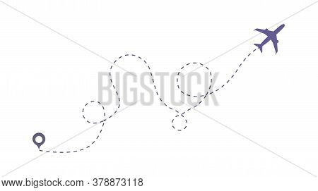 Art Design Airplane Sky Route. Airplane Line Vector Icon. Abstract Concept Graphic Element For Air T