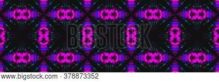 Indigo Dye. Tile Embroidery Jungle Cyberpunk Seamless. Indigo Dye Background. Green Mediterranean Ch
