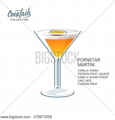 Pornstar Martini Cocktail Recipe Passion Fruit Vector Illustration