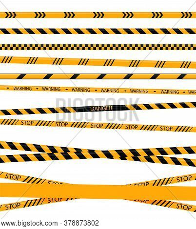 Creative Police Line Black And Yellow Stripe Border. Yellow Taped Warning Danger Police Stripes Crim