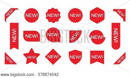 New Sticker Set. Corner Banner, New Tag Labels And Present Buttons. Sticker Icon With Text Isolated