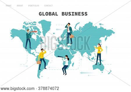 Global Business. People From Different Countries Are Looking For Business Partners, Opportunities Fo