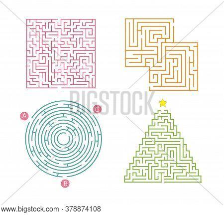 Set Of 4 Maze. Labyrinth Shape Design Element. Simple Round, Square And Triangularmaze Labyrinth Gam