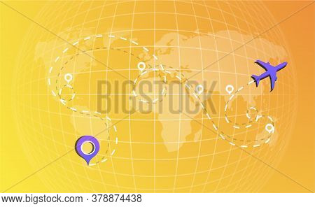 The Route Of The Aircraft On The World Map With Points Of Stops, Transfers. Airplane Line Path Icon