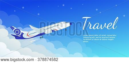 The Banner Of The Airplane Taking Off From The Clouds. Travel Concept. Airplane In A Flat Style.