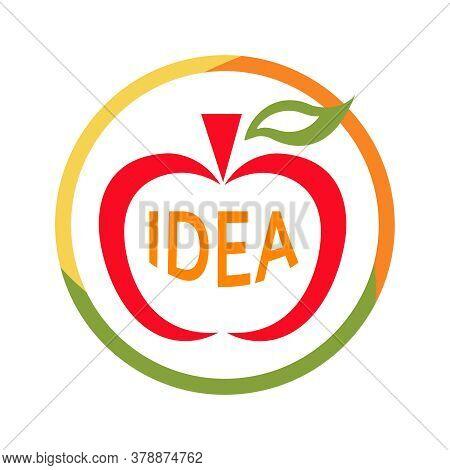 Apple Idea Sign. Abstract Apple Flat Logo. Colorful Fruit Symbol With Word Idea. Concept Of Creativi
