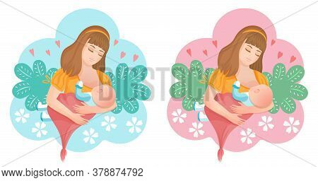 Woman Breastfeeding Newborn Baby Icon Set. Mom Holds Her Little Son Or Daughter In Arms And Feeds Wi