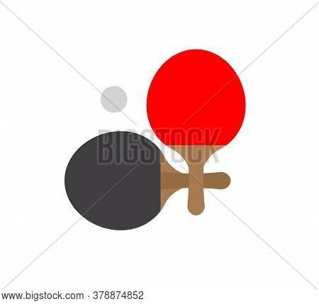 Vector Flat Cartoon Two Colored Ping Pong Table Tennis Racket And Ball Icon Isolated On White Backgr