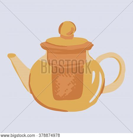 Simple Yellow Teapot In Cartoon Style. Cosiness Concept. Vector Illustration