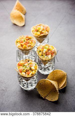 Masala Corn Chat In Papad Cone, Indian Crunchy Snack Menu