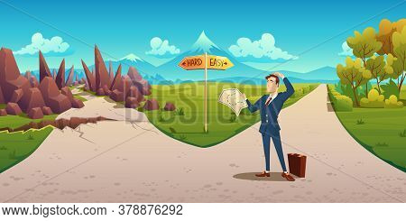 Confused Man With Map Makes Choice Between Hard And Easy Way. Vector Cartoon Landscape With Business