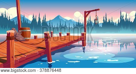 Wooden Pier On Lake, Pond Or River Landscape, Wharf With Ropes, Lantern, Barrel And Sacks On Picture