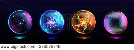 Magic Spheres, Crystal Balls With Lightning, Energy Burst, Stars And Mystical Fog Inside. Vector Rea