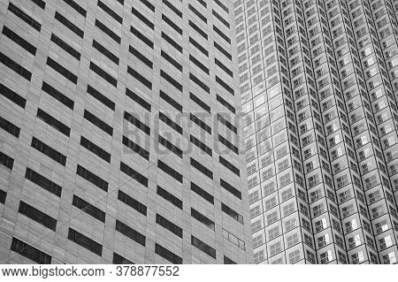 Architectural Design And Conception. Modern Architecture. Windows Of High Rise Building. Architectur