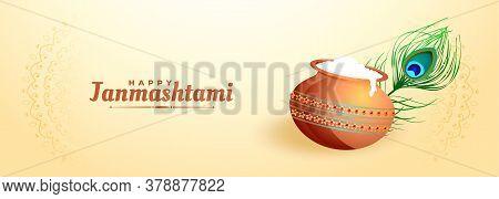 Traditional Lord Krishna Janmashtami Festival Banner Design
